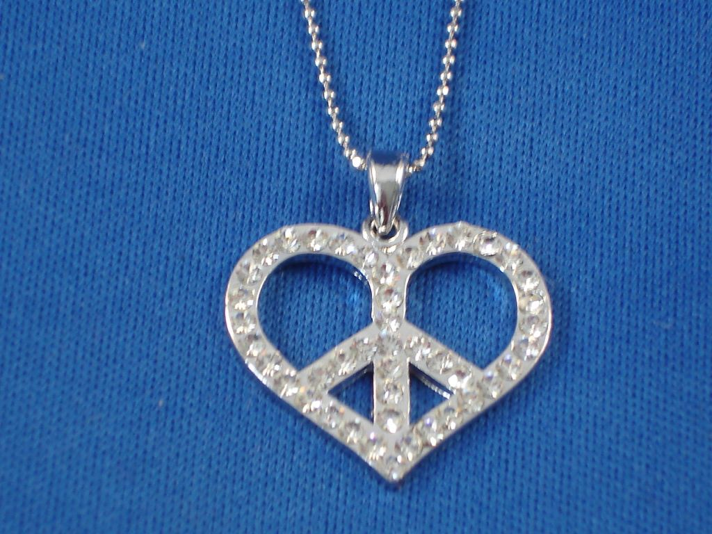 "1"" Peace Necklace in the shape of Heart, Sterling Silver, Zircon Stones, Fashion Jewelry"