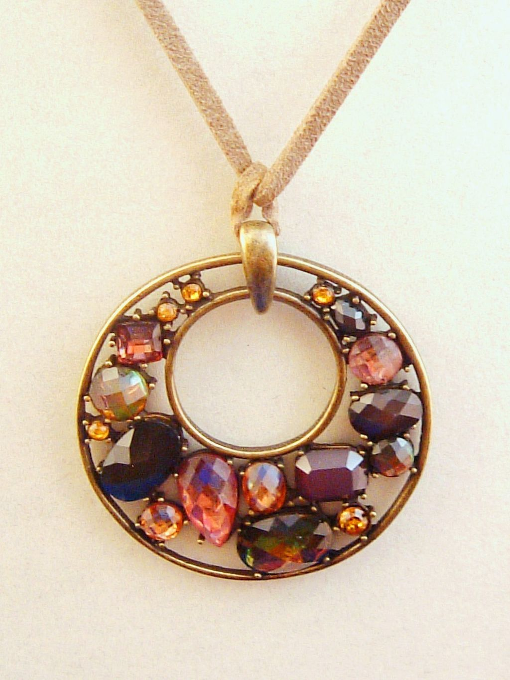 "2"" Topaz Pendant Necklace, Glass Crystals, Bronze Finish Metal, Leather Cord, Anti-allergic Jewelry"