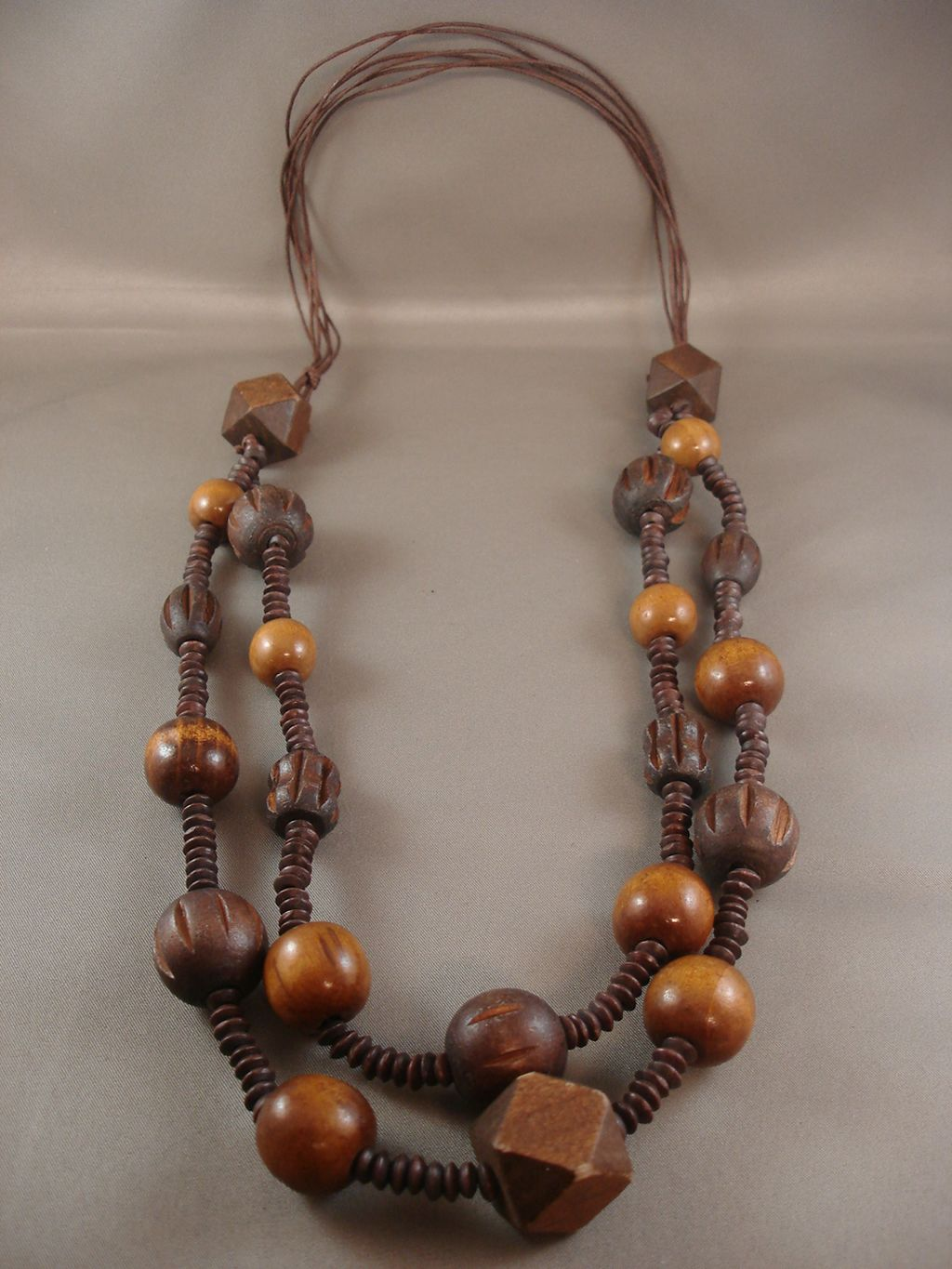 "32"" Adjustable Brown Bulky Two Layers Necklace, Large Wooden Ball & Cube Beads, European Fashion Jewelry"