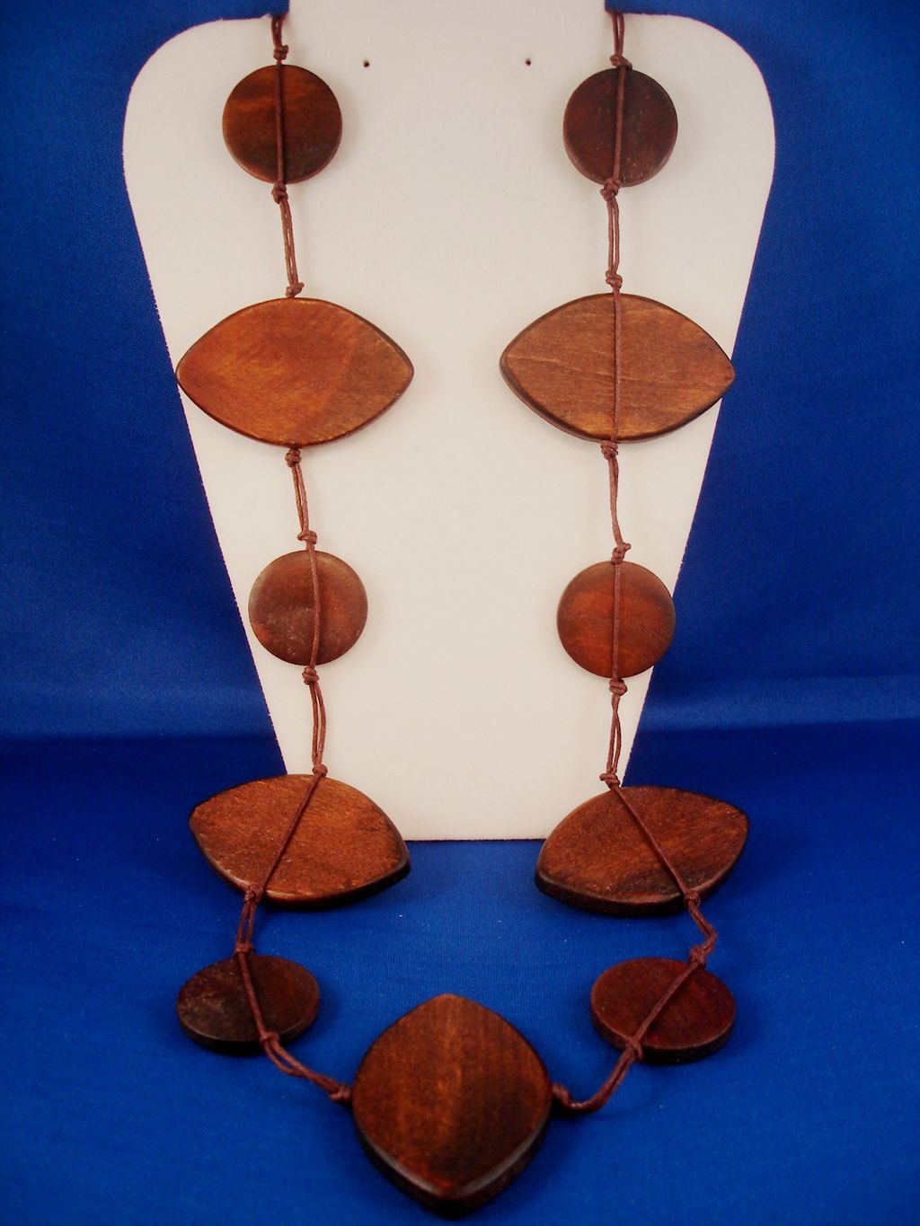 "36"" Brown Bulky Necklace, Large Wooden Oval & Circle Beads, European Fashion Jewelry"