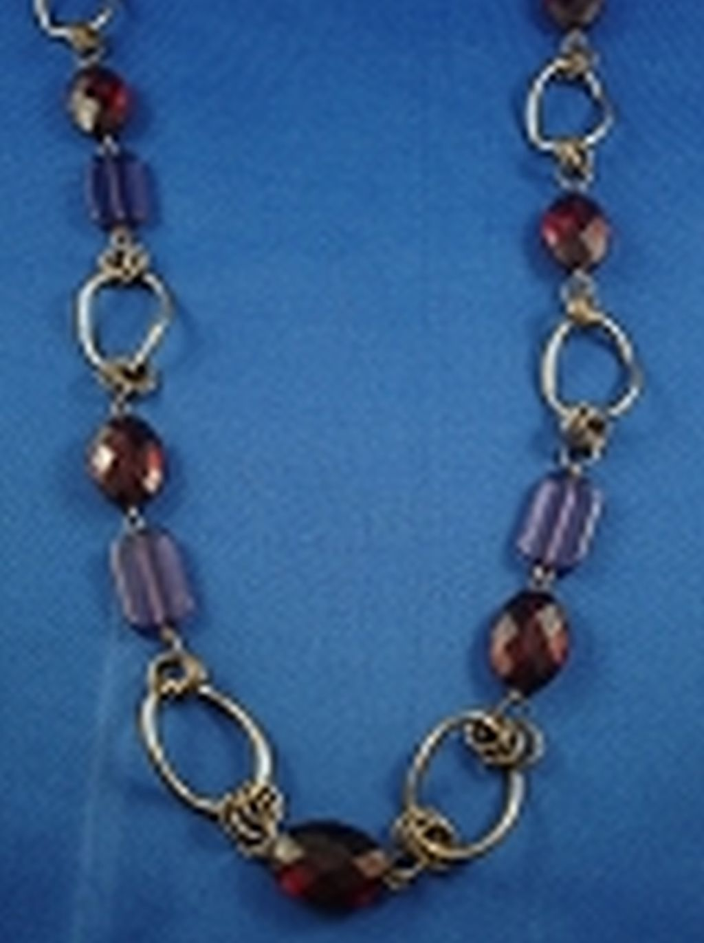 "36"" Maroon & Purple Beads Necklace, Bronze Color Chain, Anti-allergic Jewelry"