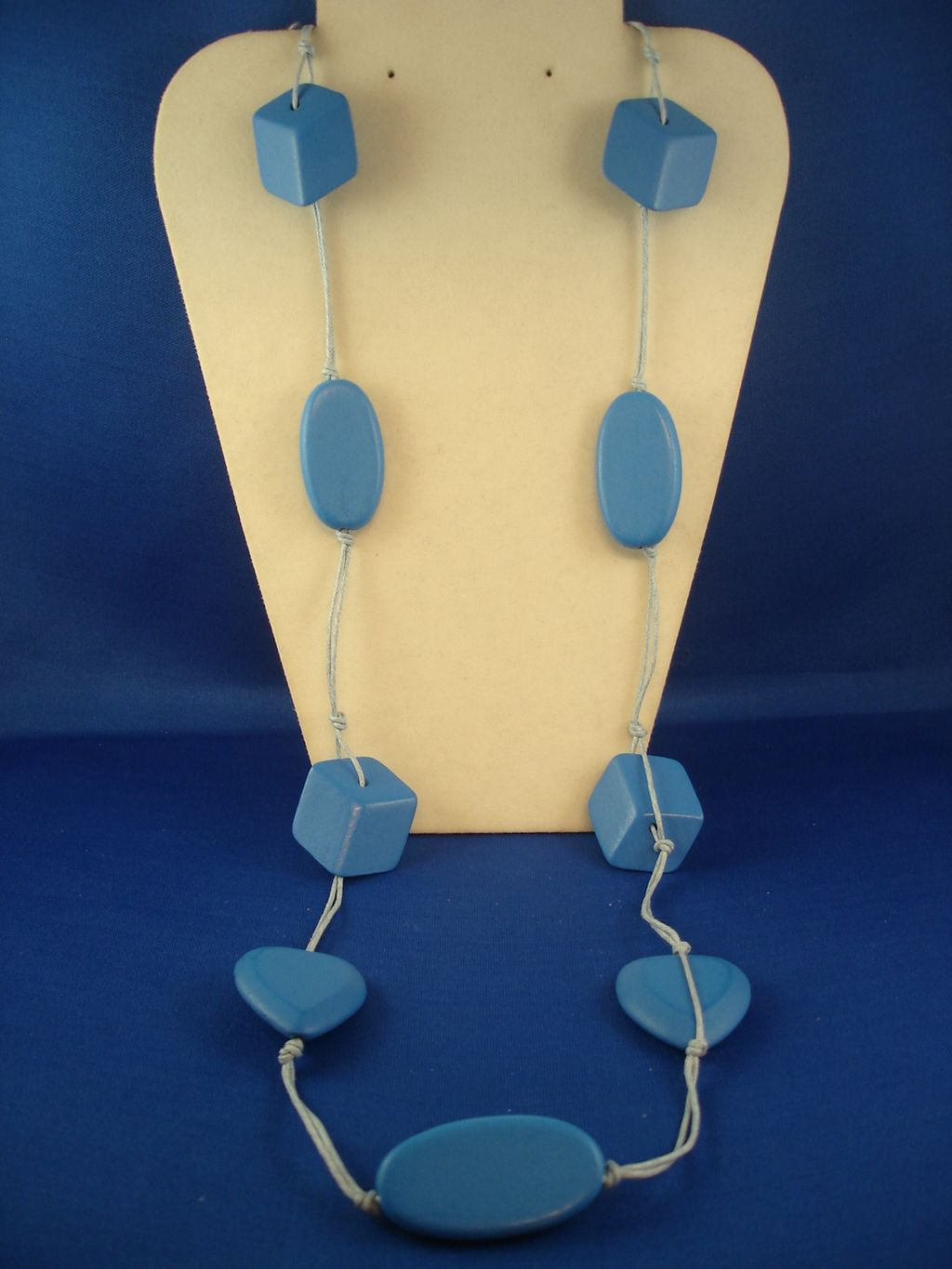 "38"" Bulky Blue Necklace, Heart, Oval & Cube Beads, Cotton Cord, European Fashion Jewelry"
