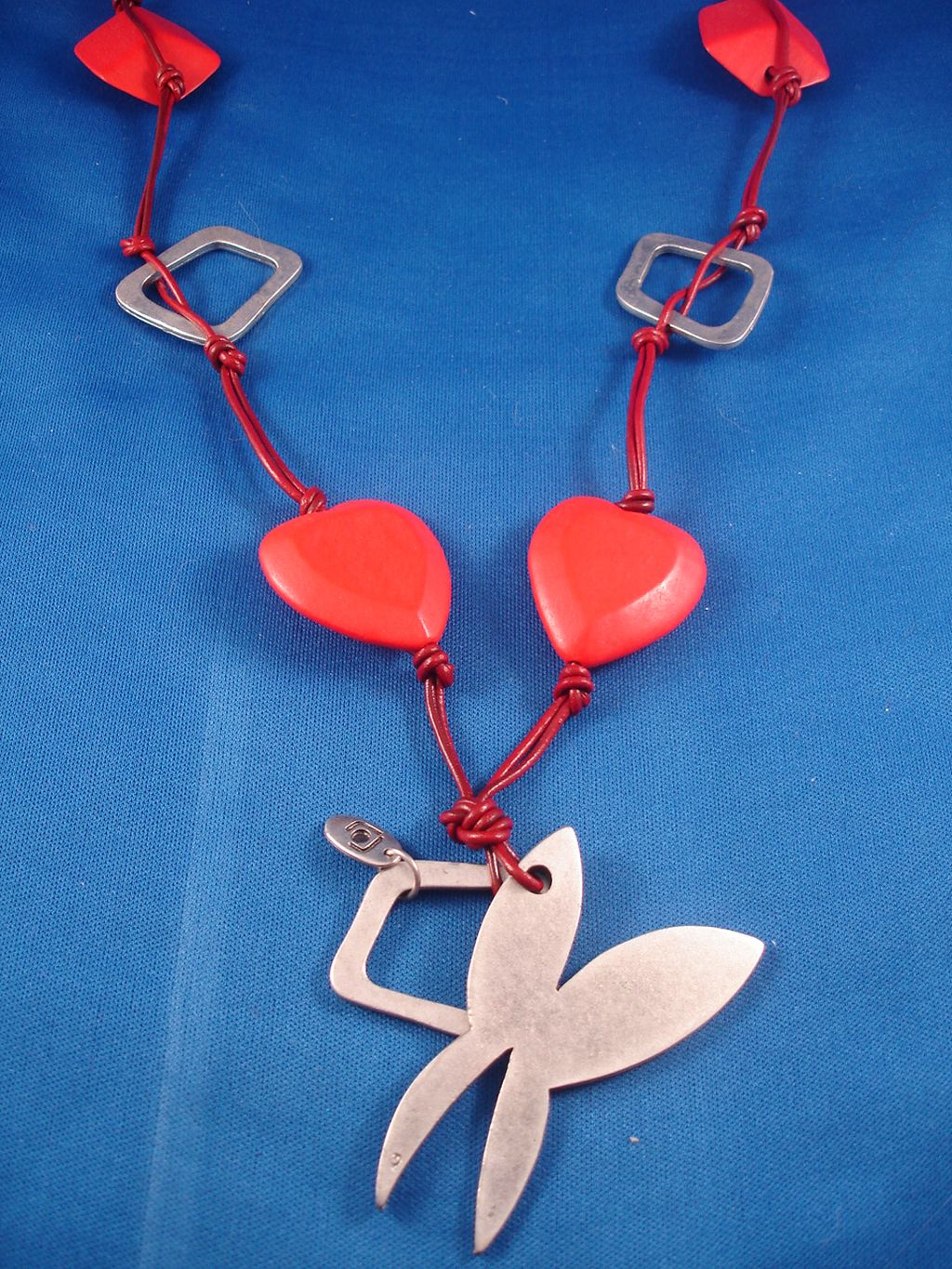 "38"" Red Hearts Leather Necklace, Rabbit Pendant, European Designer`s Touch"