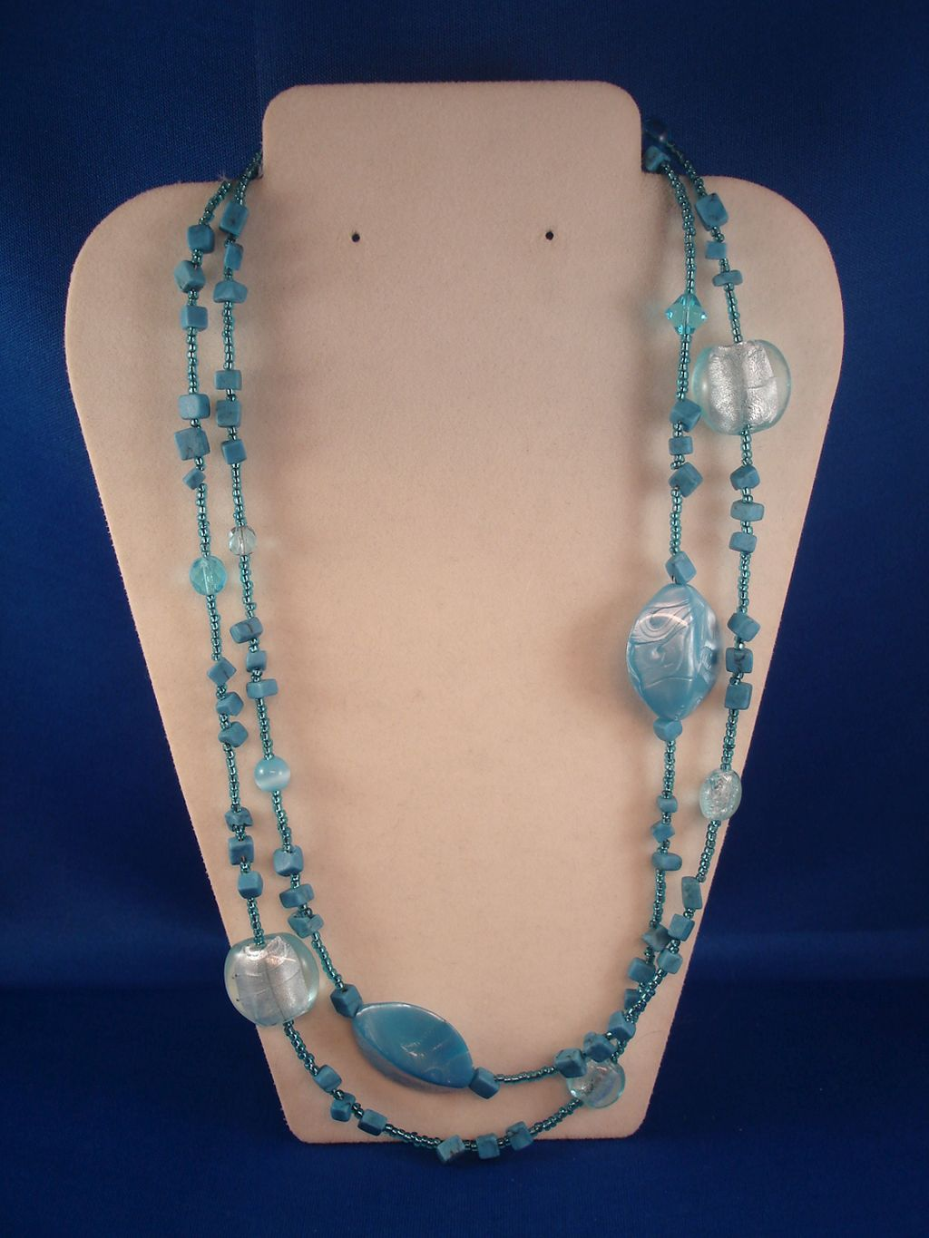 "42"" Turquoise / Sky Blue Necklace, Genuine Stones, Stained Glass, Beads, European Fashion Jewelry"