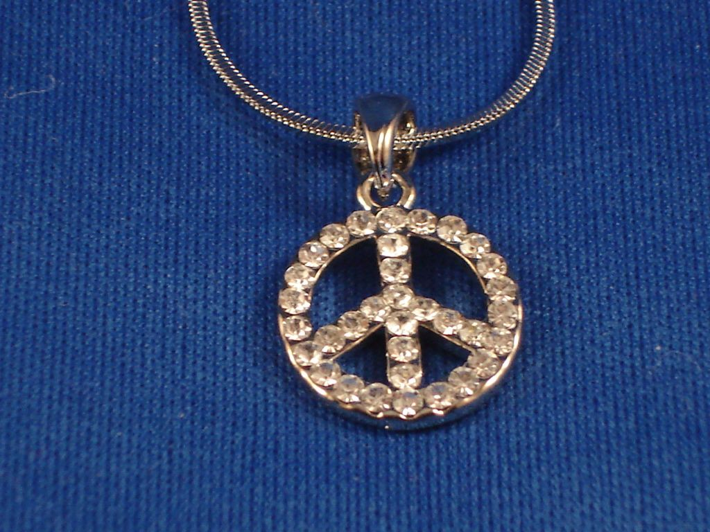5/8 inch Peace Necklace, Sterling Silver, Zircon Stones, Fashion Jewelry