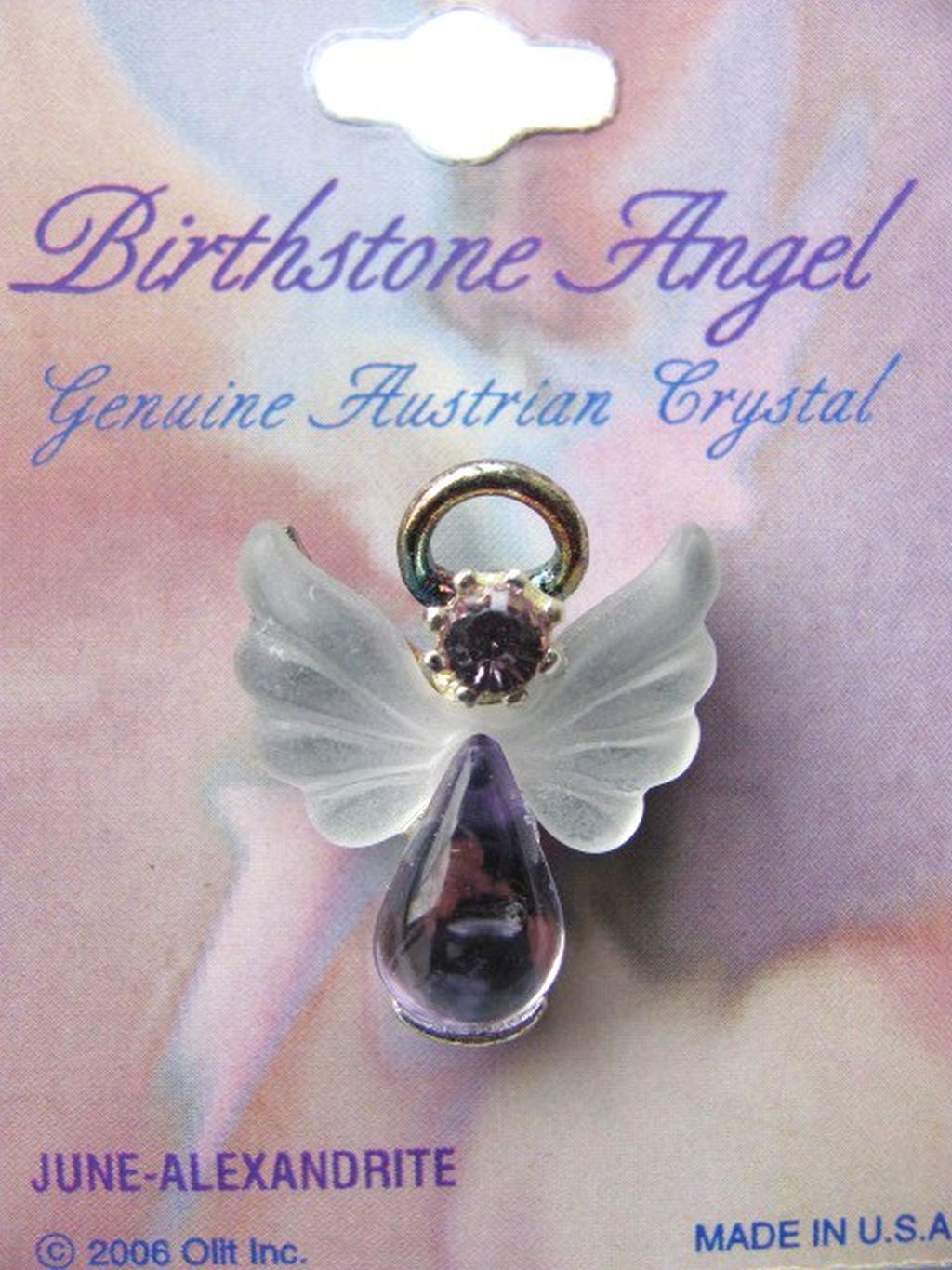 Alexandrite June Birthstone Angel Pin, Genuine Austrian Crystals