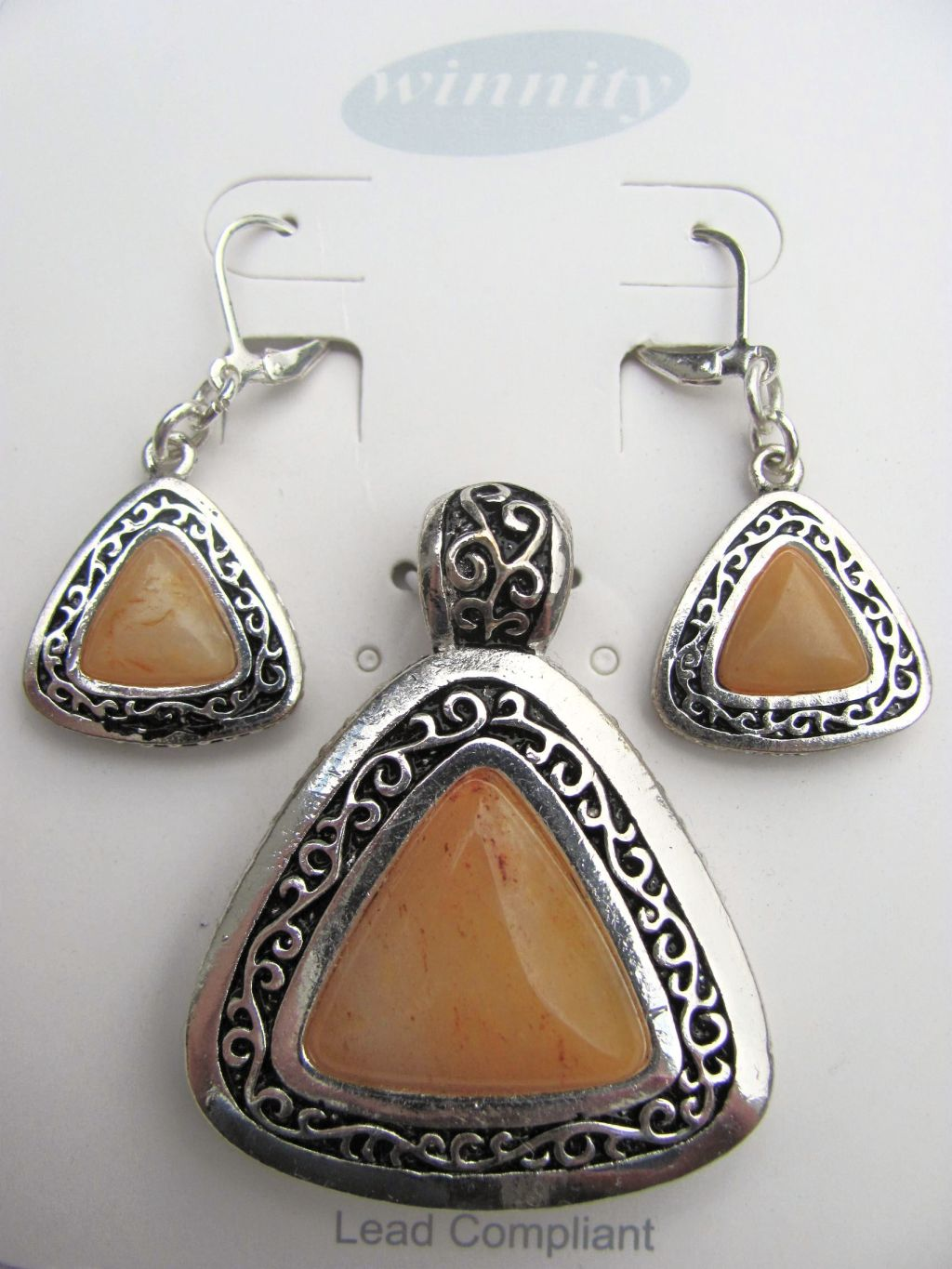 Amber Vintage Triangle Pendant Earrings Set, Genuine Stone