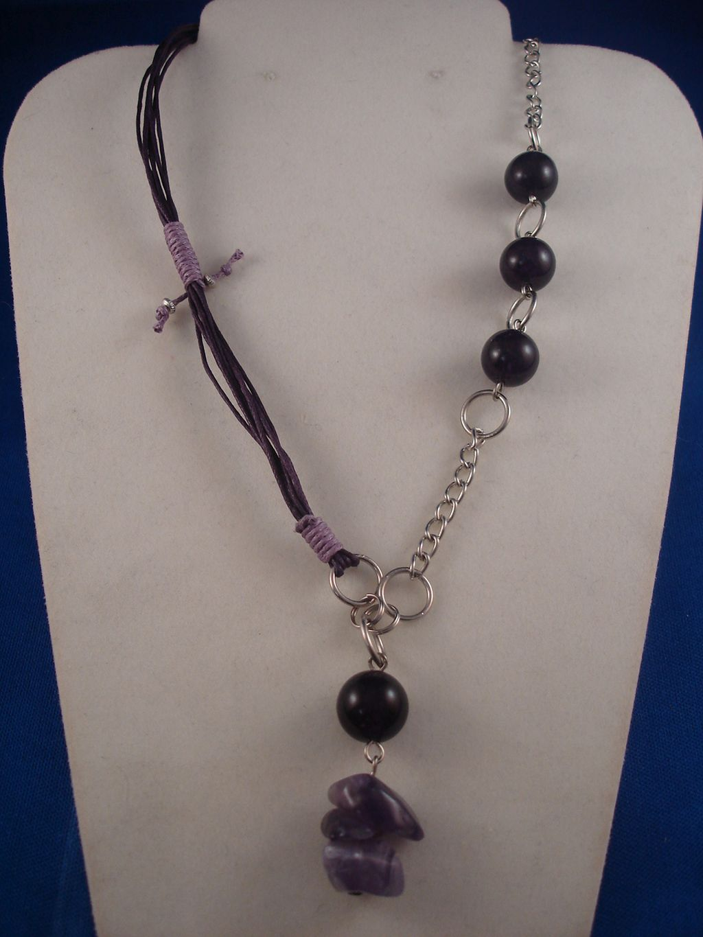 Amethyst Necklace, Genuine Stones, Cotton & Chain