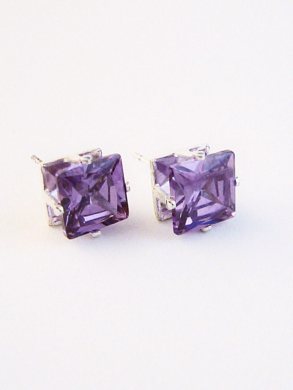 Amethyst Princess Cut Silver Stud Earrings Genuine CZ Cubic Zirconia
