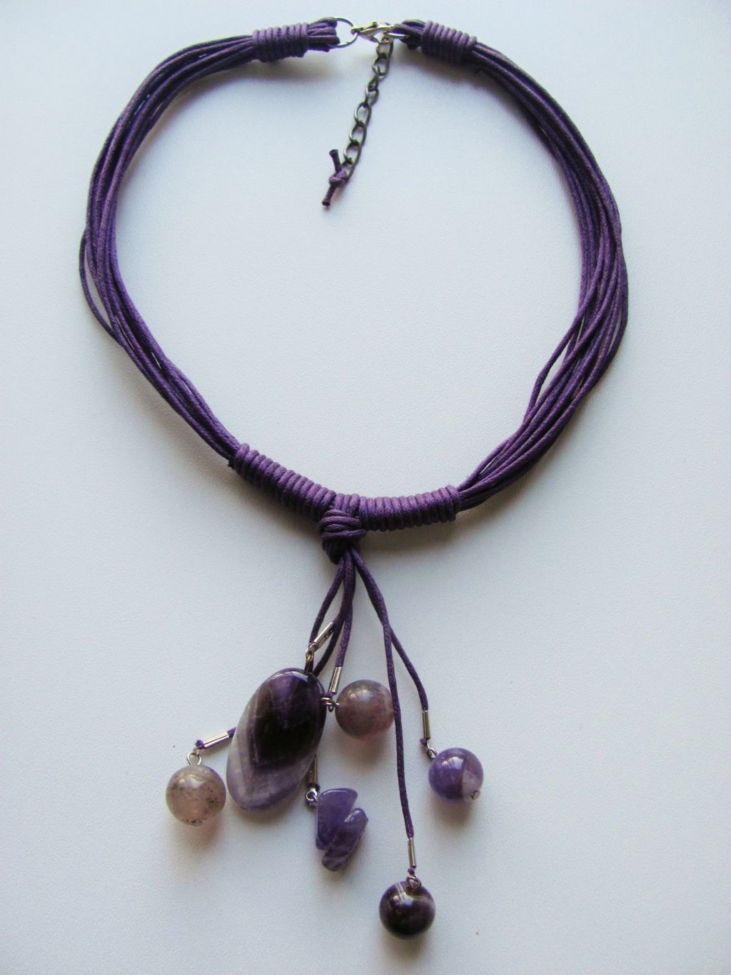 Amethyst Summer Necklace, Cotton & Genuine Stones