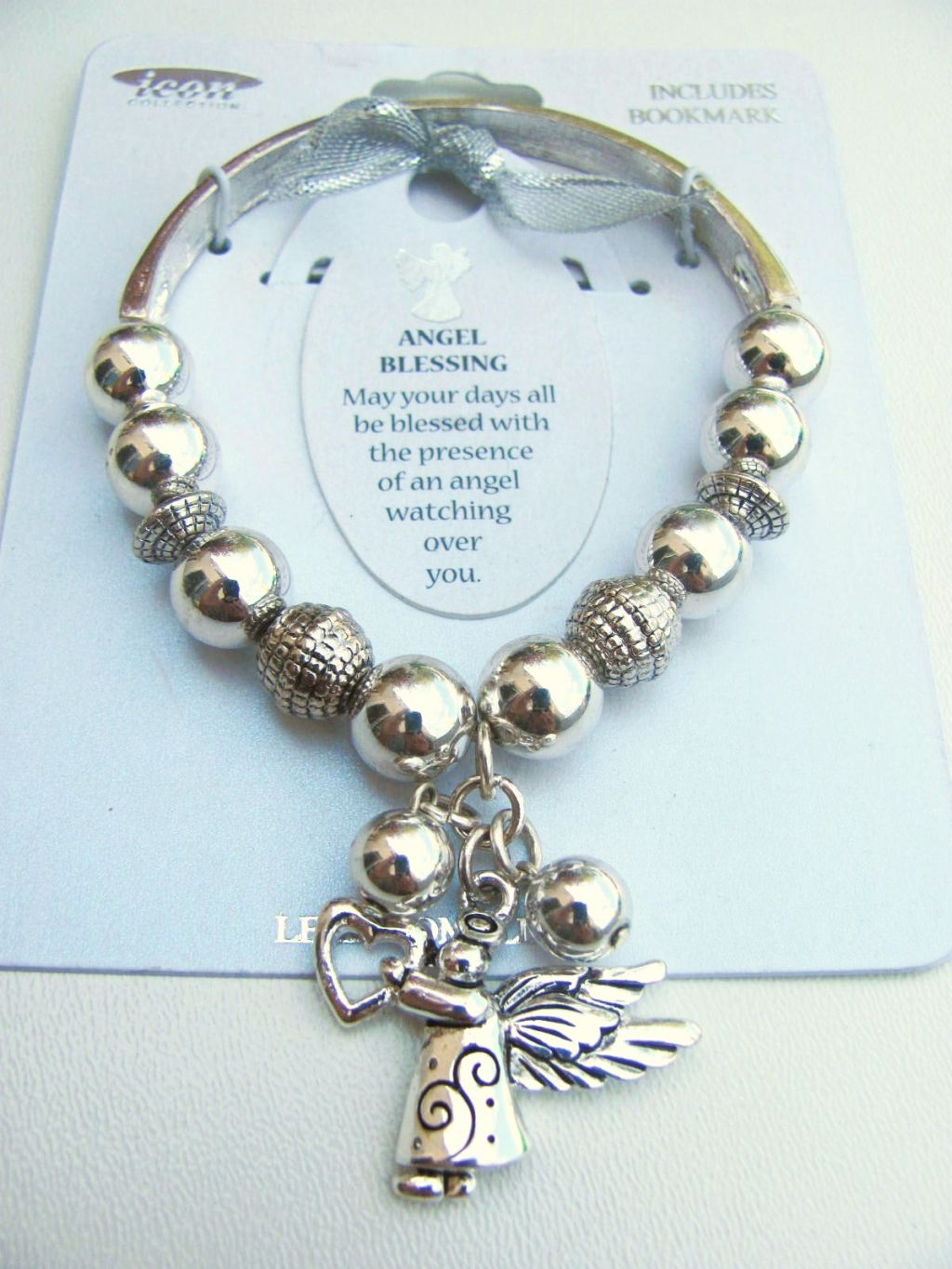 Angel Blessing Charm Inspirational Message Bracelet, Silver Tone