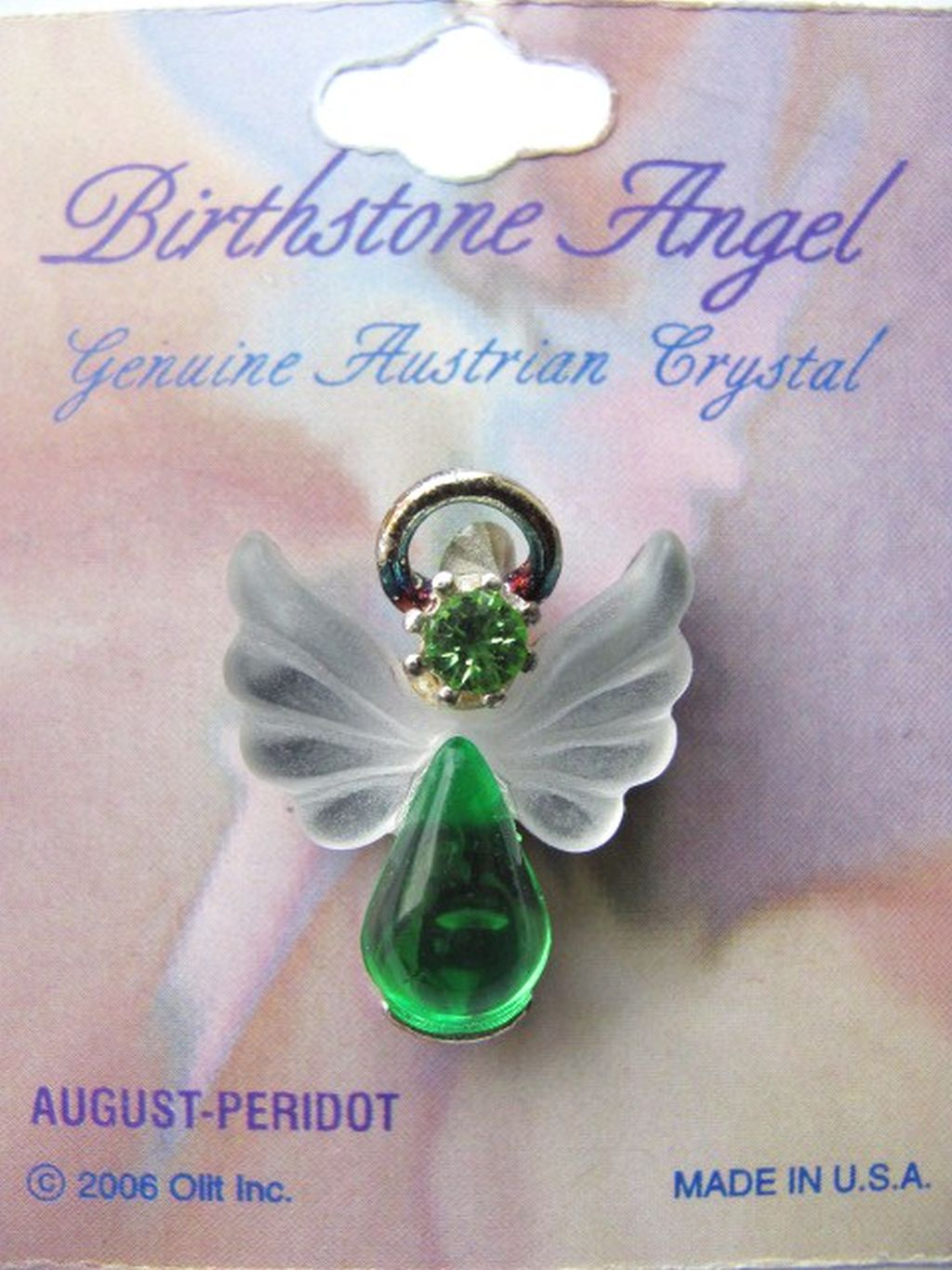 Peridot August Birthstone Angel Pin, Genuine Austrian Crystals