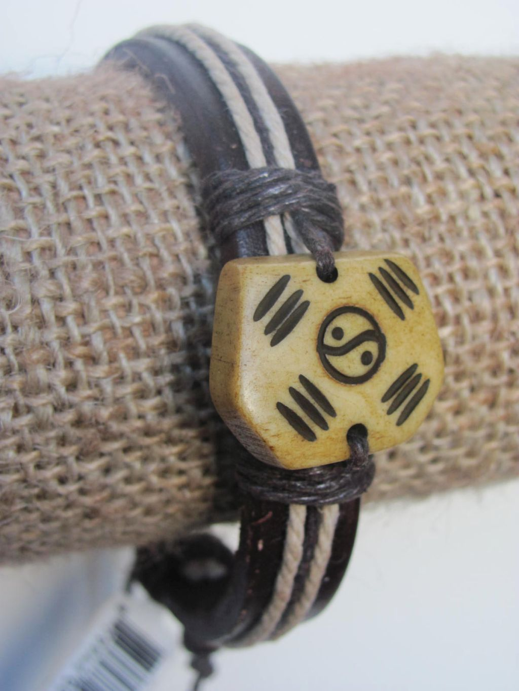 Balance Men`s Tribal Bracelet Brown Mystic Symbol Thick Genuine Leather Beach Surfer Style