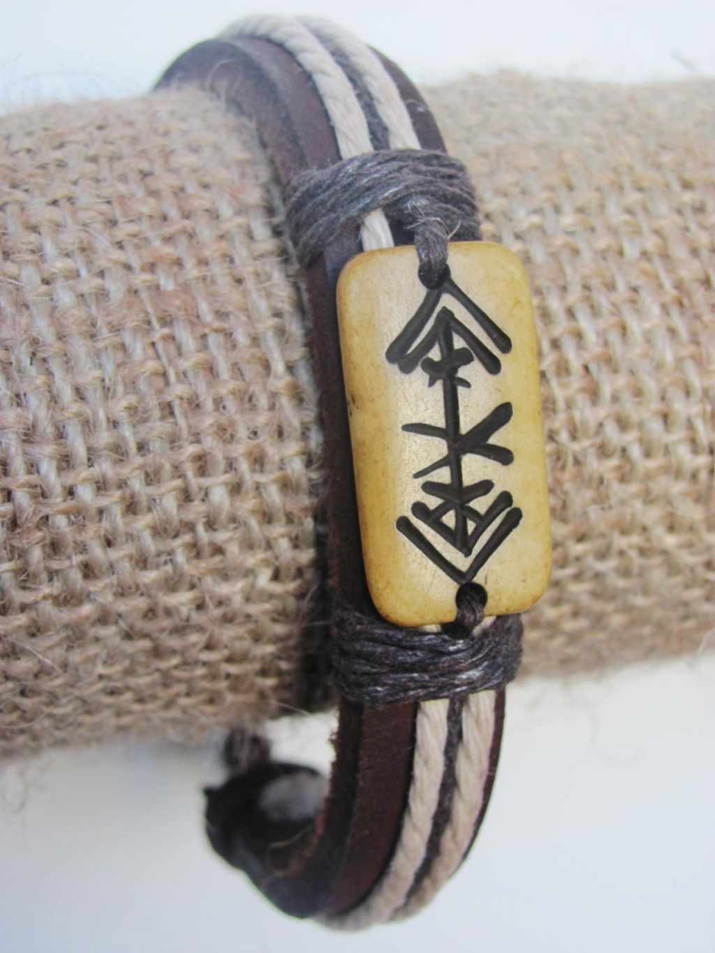 Charisma Men`s Tribal Bracelet Brown Mystic Symbol Thick Genuine Leather Beach Surfer Style