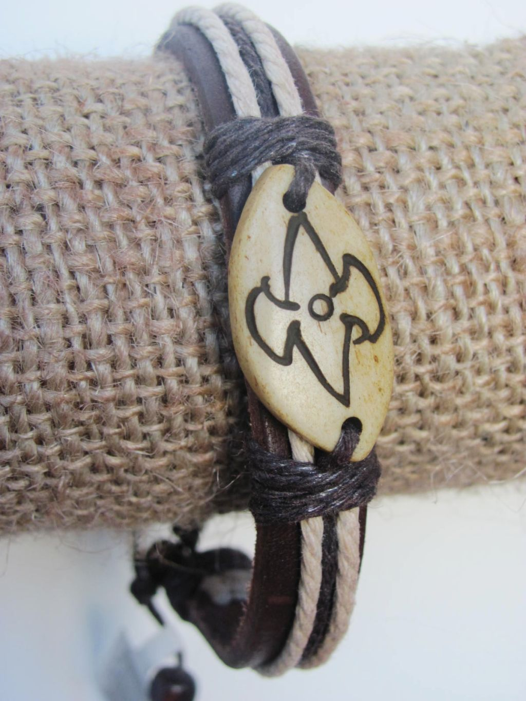 No Fear Men`s Tribal Bracelet Brown Mystic Symbol Thick Genuine Leather Beach Surfer Style