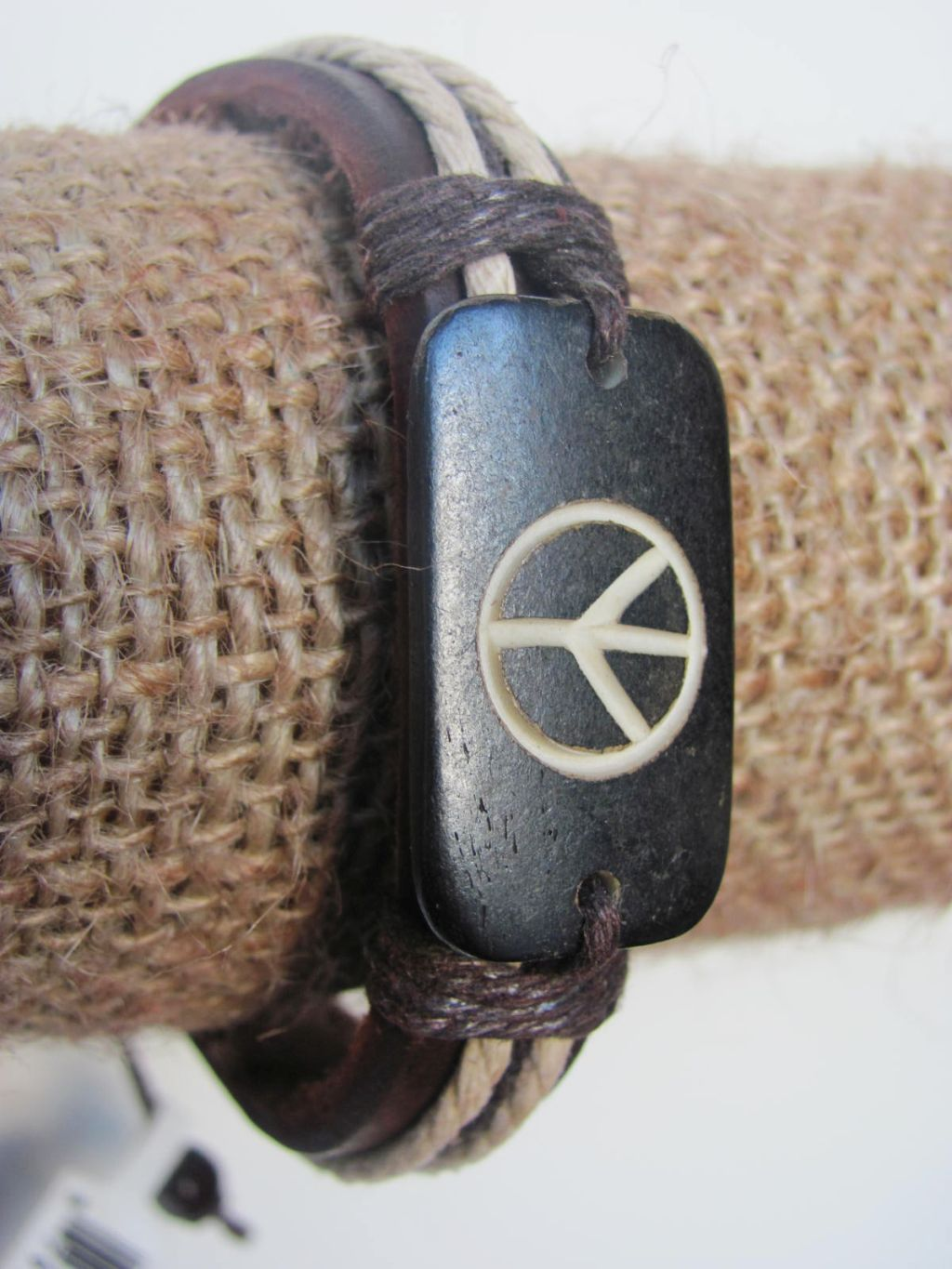 Peace Men`s Tribal Bracelet Black Mystic Symbol Thick Genuine Leather Beach Surfer Style