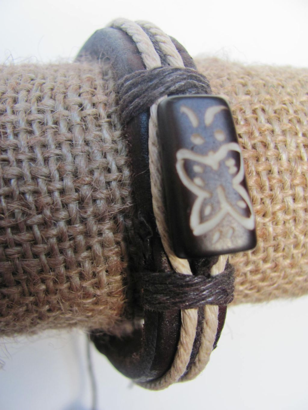 Purity Men`s Tribal Bracelet Black Mystic Symbol Thick Genuine Leather Beach Surfer Style