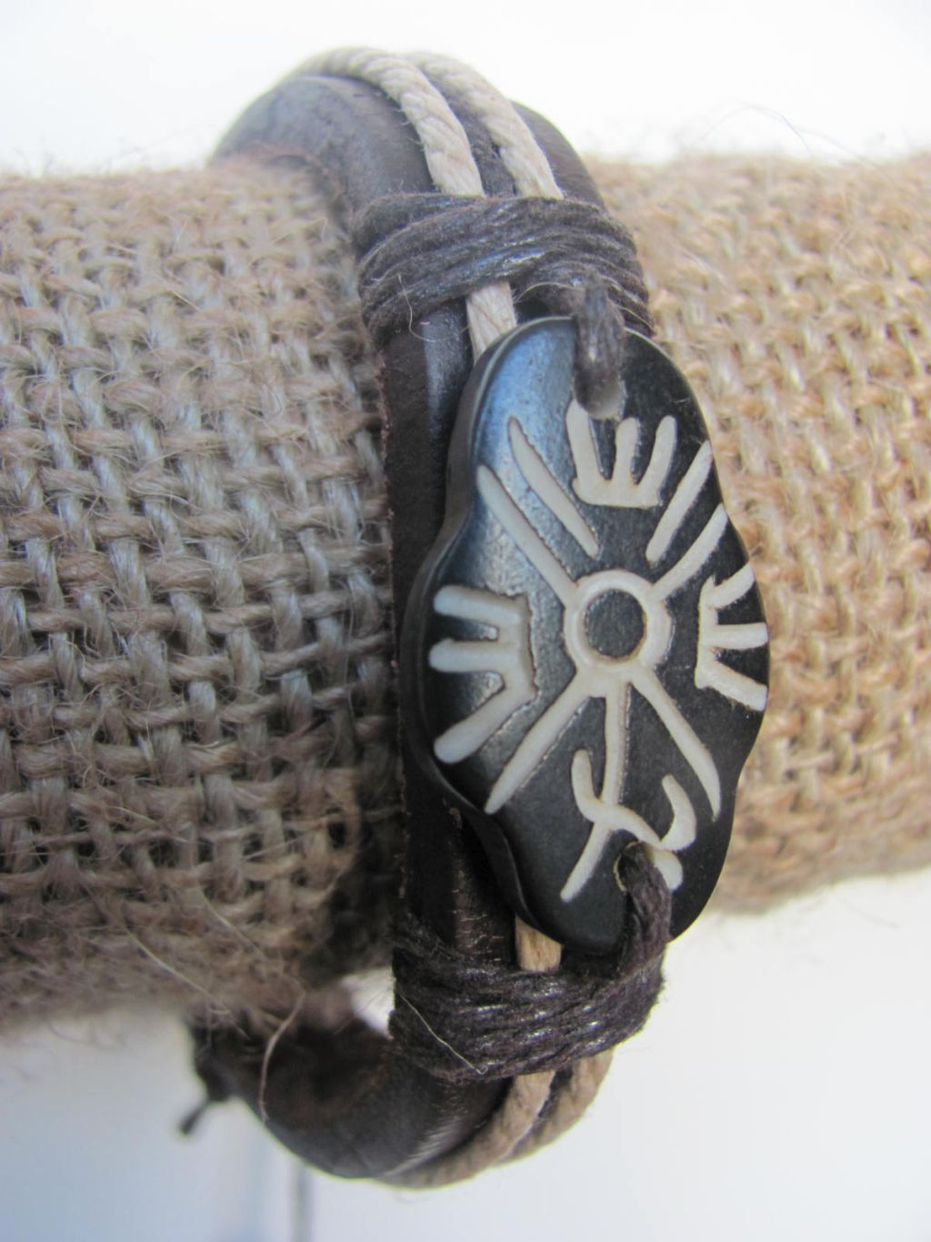 Wild One Men`s Tribal Bracelet Black Mystic Symbol Thick Genuine Leather Beach Surfer Style