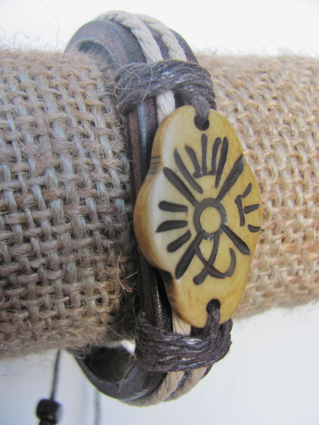Wild One Men`s Tribal Bracelet Brown Mystic Symbol Thick Genuine Leather Beach Surfer Style