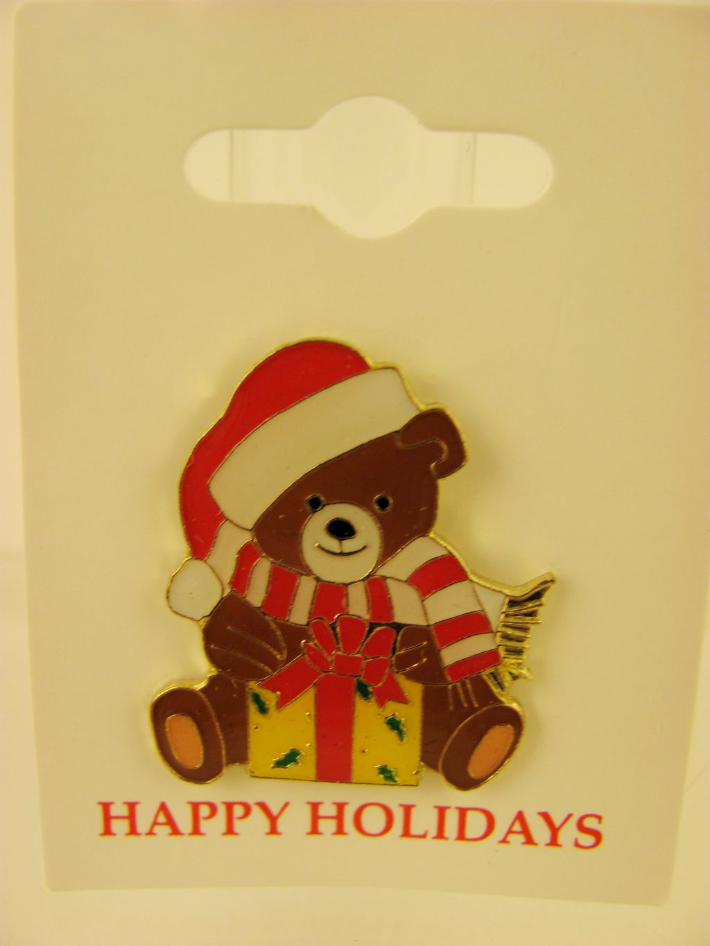 Bear with Present Christmas Pin