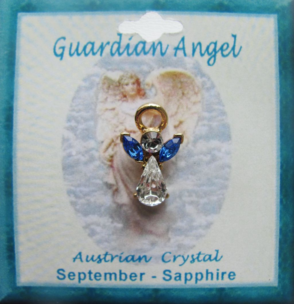 Birthstone Guardian Angel Pin, Genuine Austrian Crystals