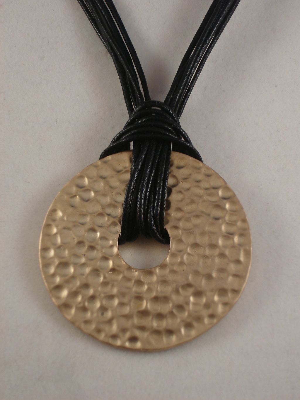 "Black Cord Necklace, Gold Color 1 3/4"" Bent Metal Pendant, Anti-allergic Jewelry"