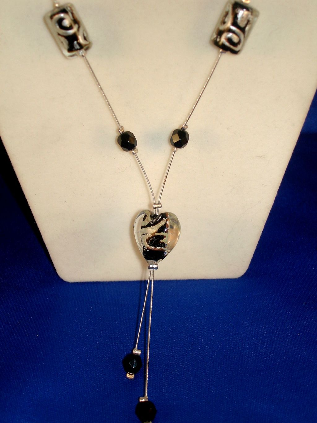 Black Heart Stained Glass Necklace, European Fashion Jewelry