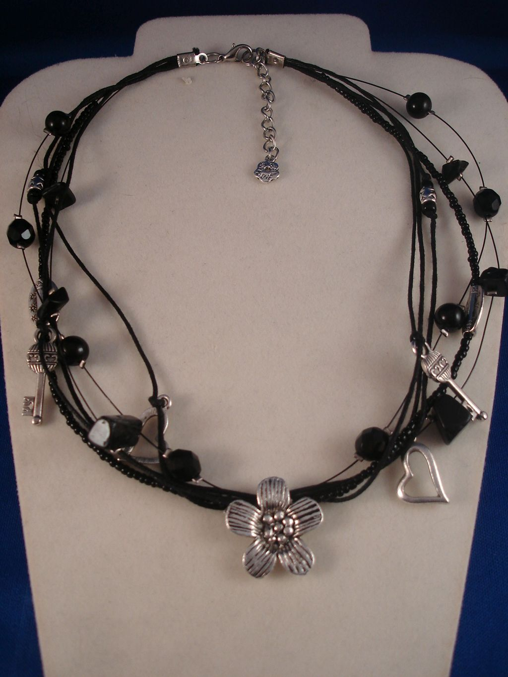 Black Necklace, Genuine Stones, Metal Hearts, Flowers, Keys Charms, Beads, Anti-allergic Jewelry