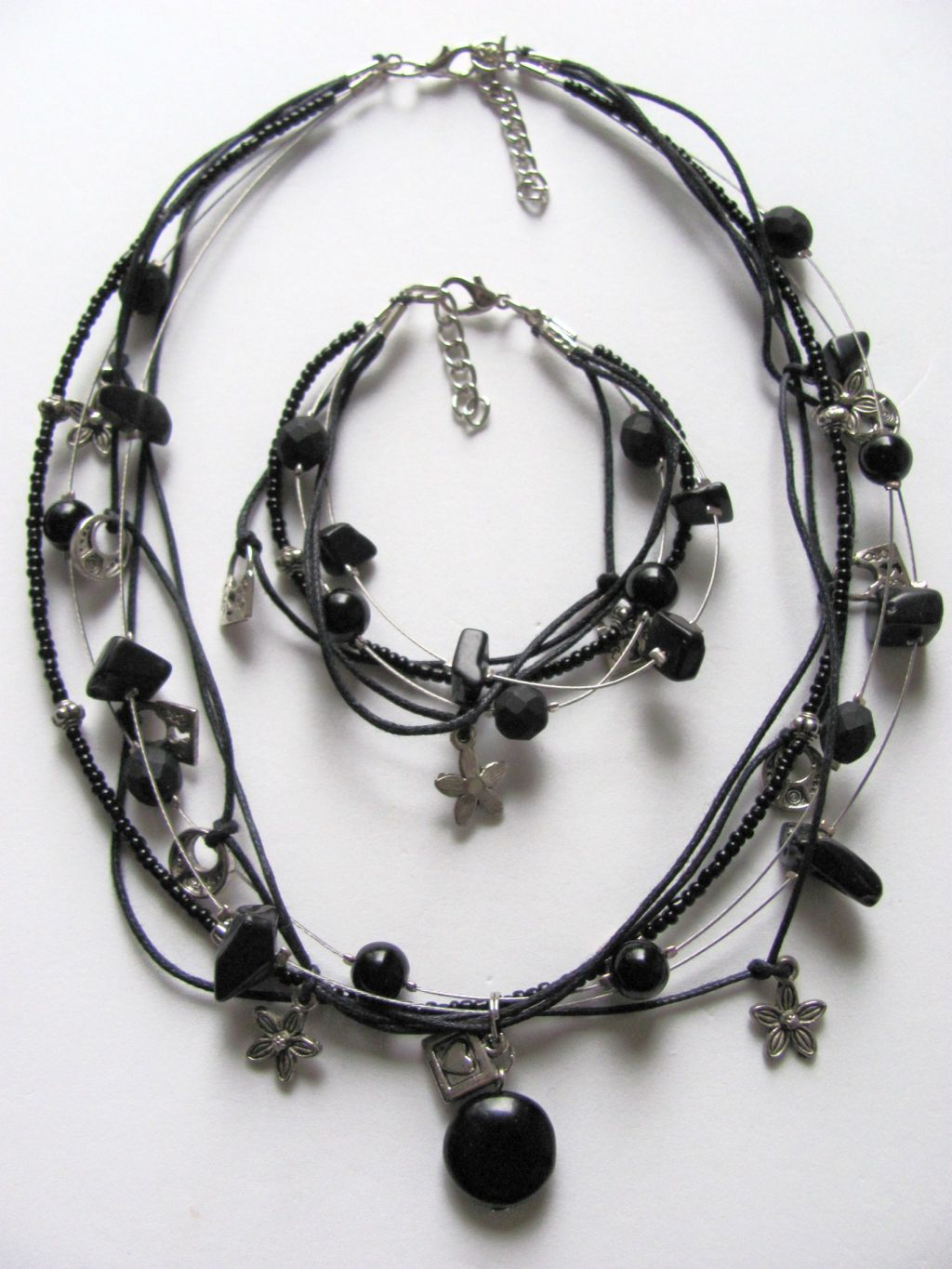 Black Onyx Pendant Heart Flower Lock Charm Necklace Bracelet Set