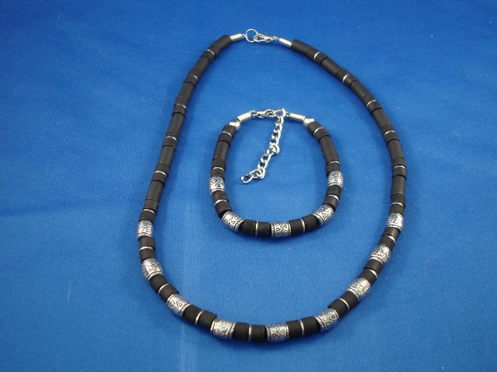 Black Surfer Style Set of Necklace & Bracelet, Lucky Metal Beads, Men`s Beach Jewelry