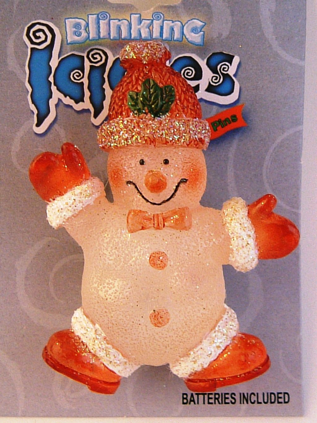 Blinking Icicle Christmas Lights Orange Snowman Brooch Pin, Batteries Included