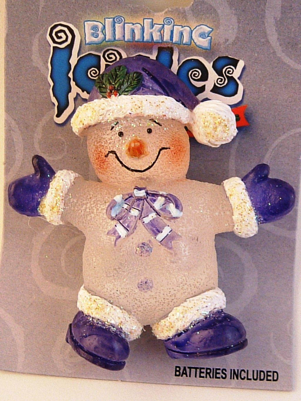 Blinking Icicle Christmas Lights Purple Snowman Brooch Pin, Batteries Included