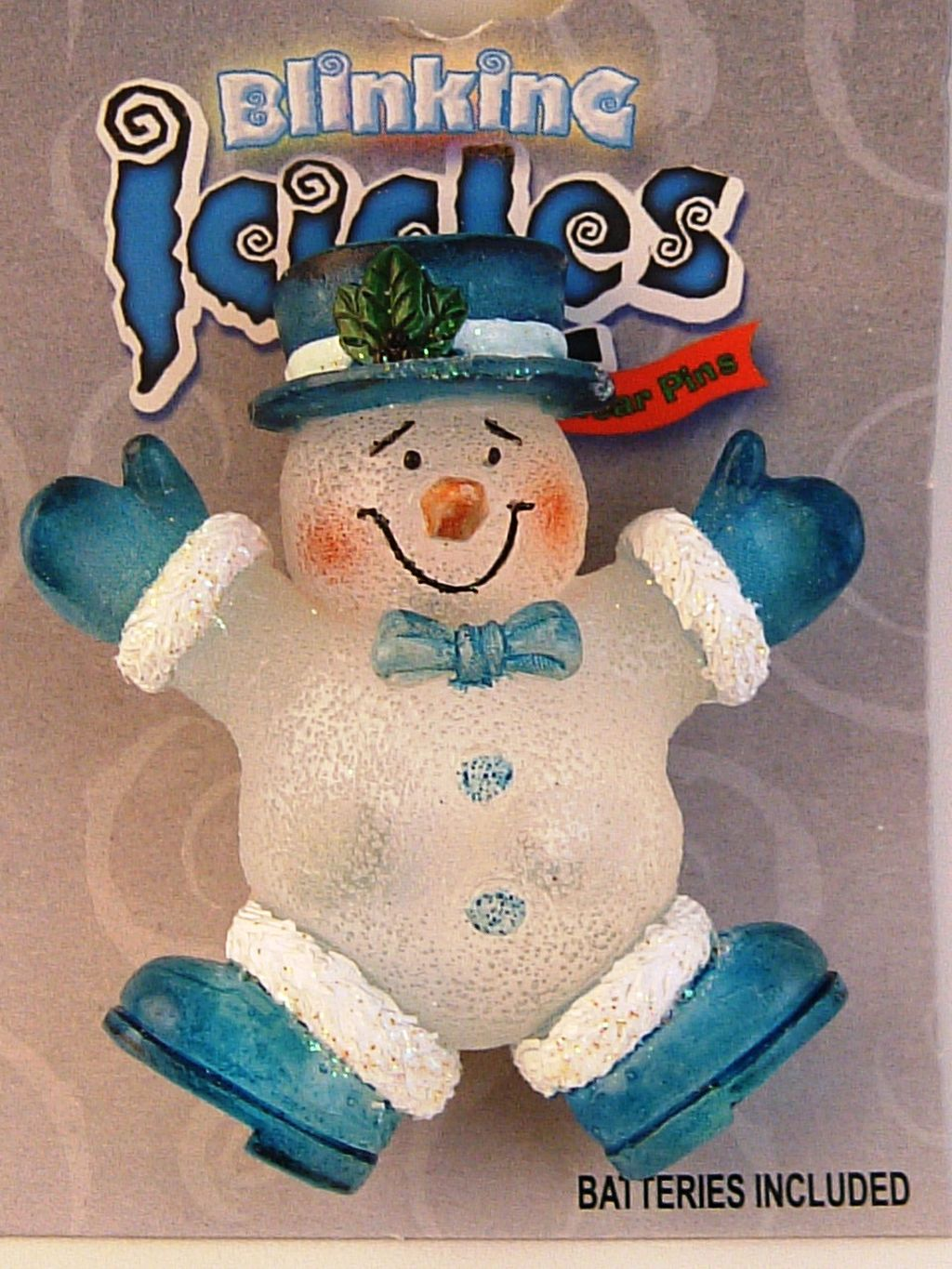 Blinking Icicle Christmas Lights Blue Snowman Brooch Pin, Batteries Included