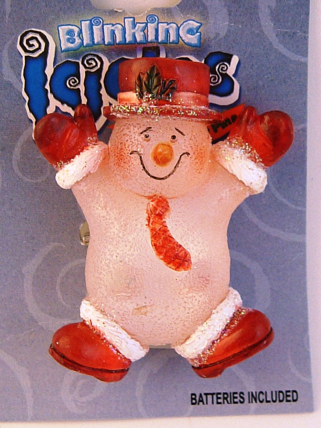 Blinking Icicle Christmas Lights Red Snowman Brooch Pin, Batteries Included