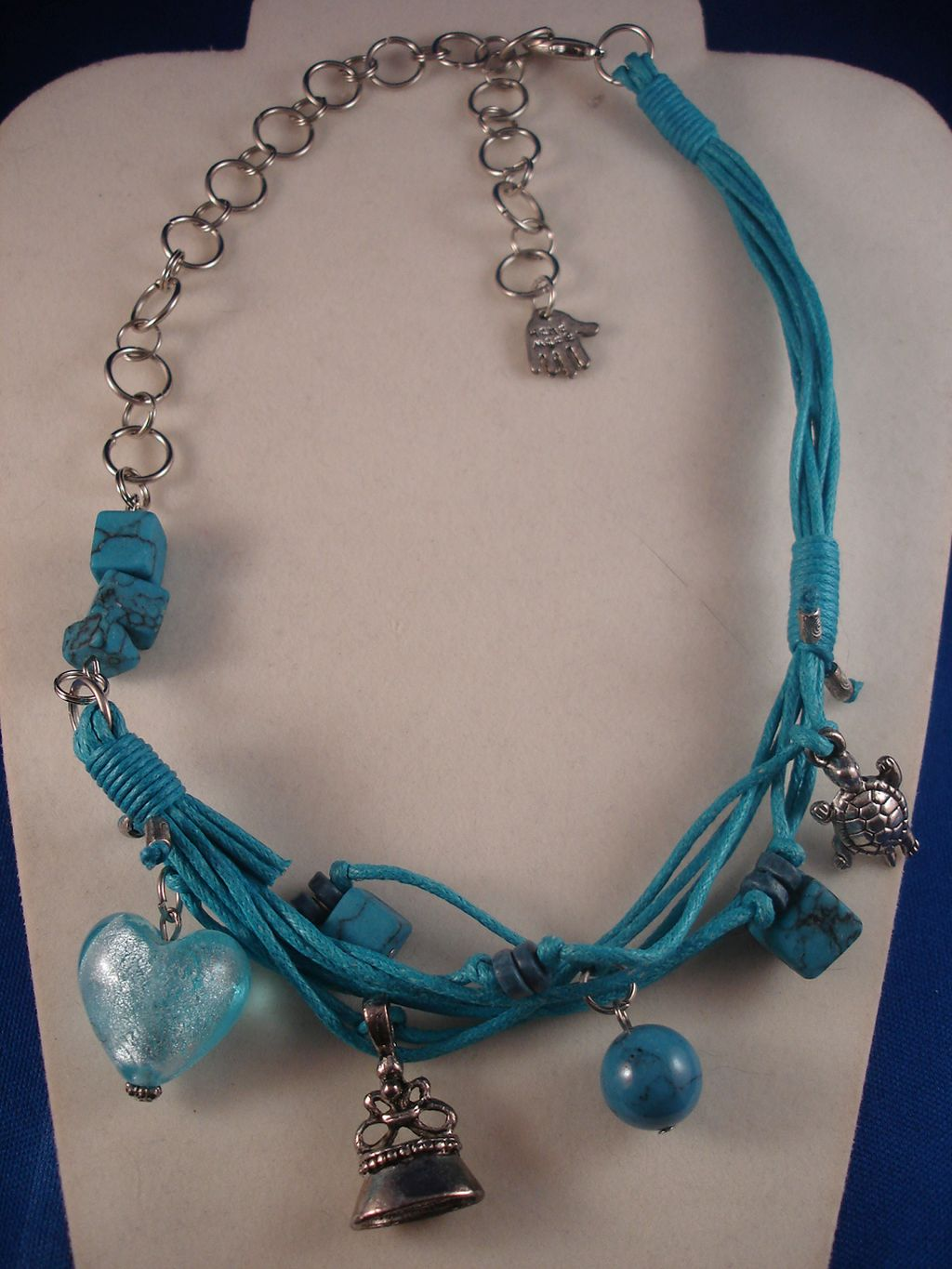 Blue Cotton & Chain Necklace, Turtle, Bell, Palm Charms & Glass Heart Pendant, Anti-allergic Jewelry