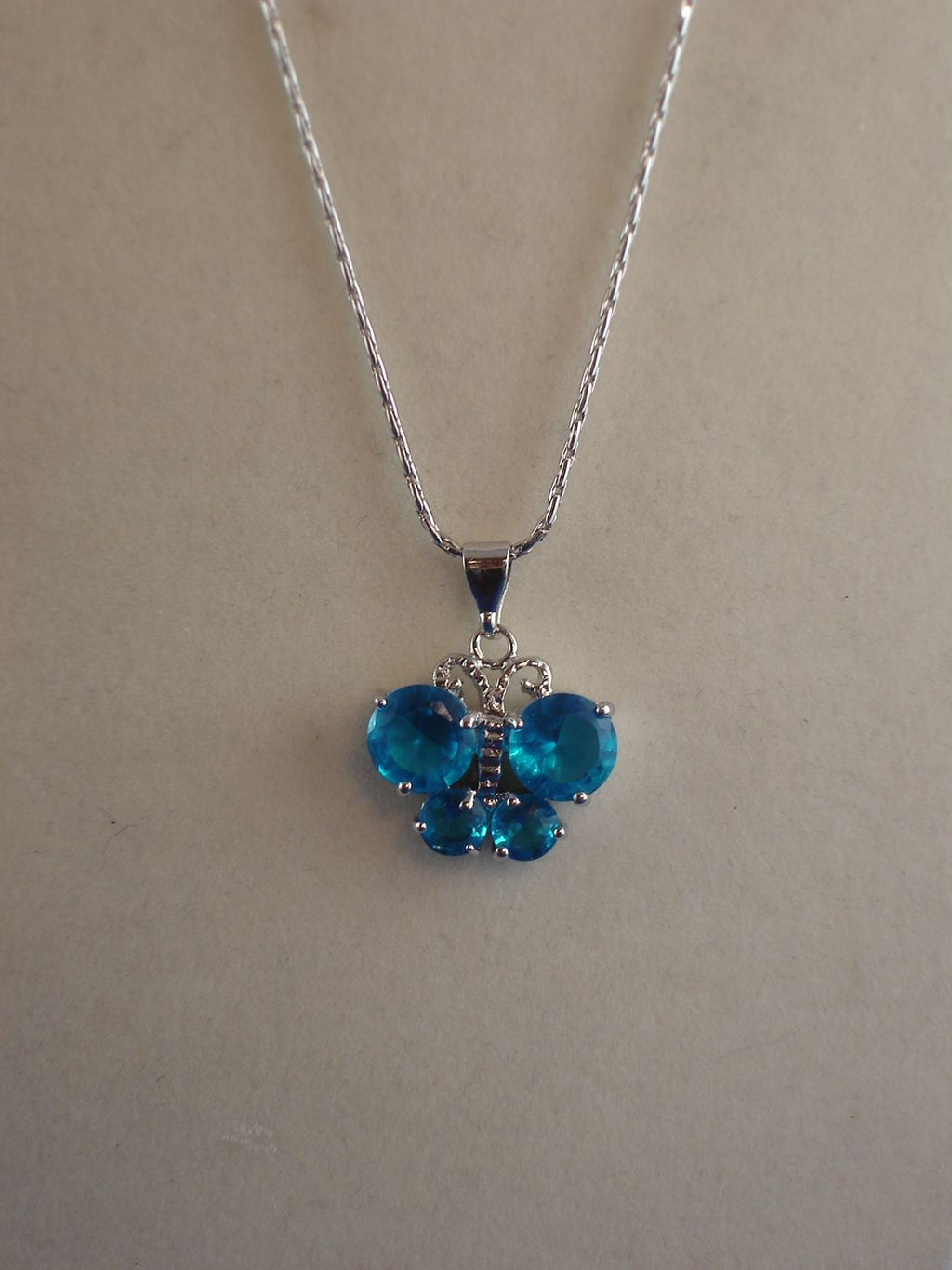 "Blue Cubic Zirconia Butterfly NeckLace, CZ Crystals, Sterling Silver Plated 16"" Chain, Anti-allergic Jewelry"