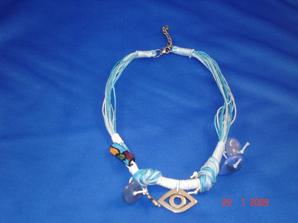 Blue Evil Eye Necklace, Natural Stones, European Fashion Jewelry