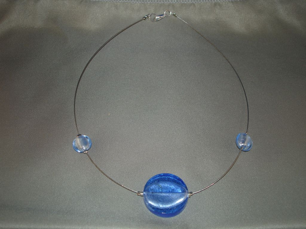 Blue Glass Pendant Contemporary Necklace, European Fashion Jewelry