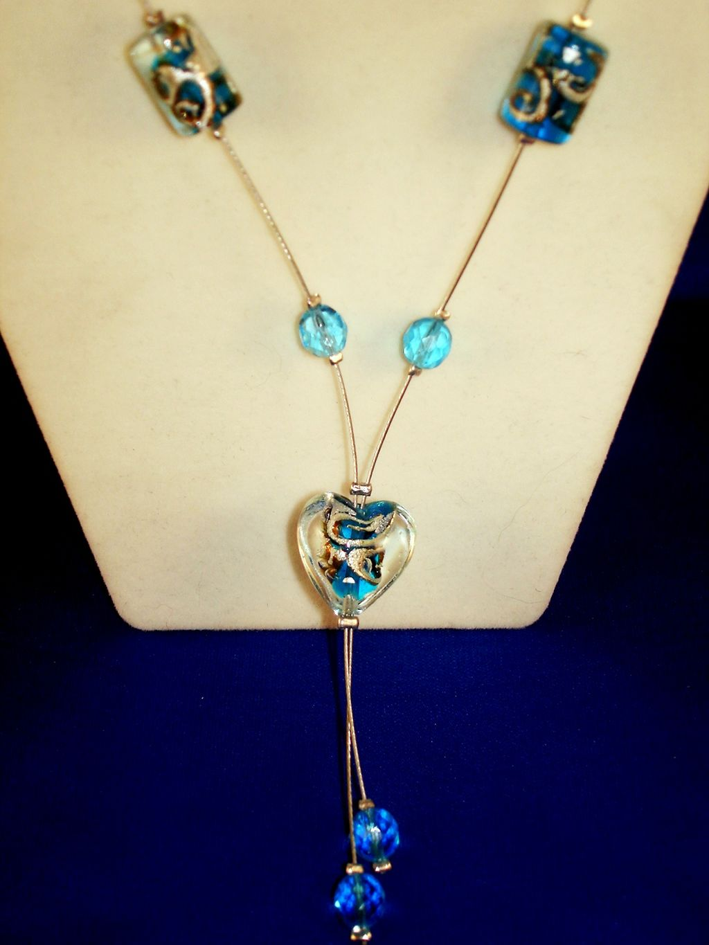 Blue Heart Stained Glass Necklace, European Fashion Jewelry