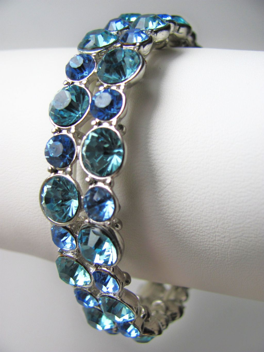 1/2 Wide Blue Turquoise Stretching Bangle Bracelet, Genuine Austrian Crystals