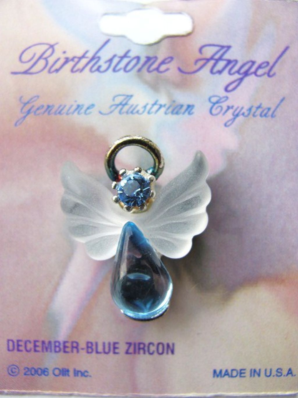 Blue Zircon December Birthstone Angel Pin, Genuine Austrian Crystals