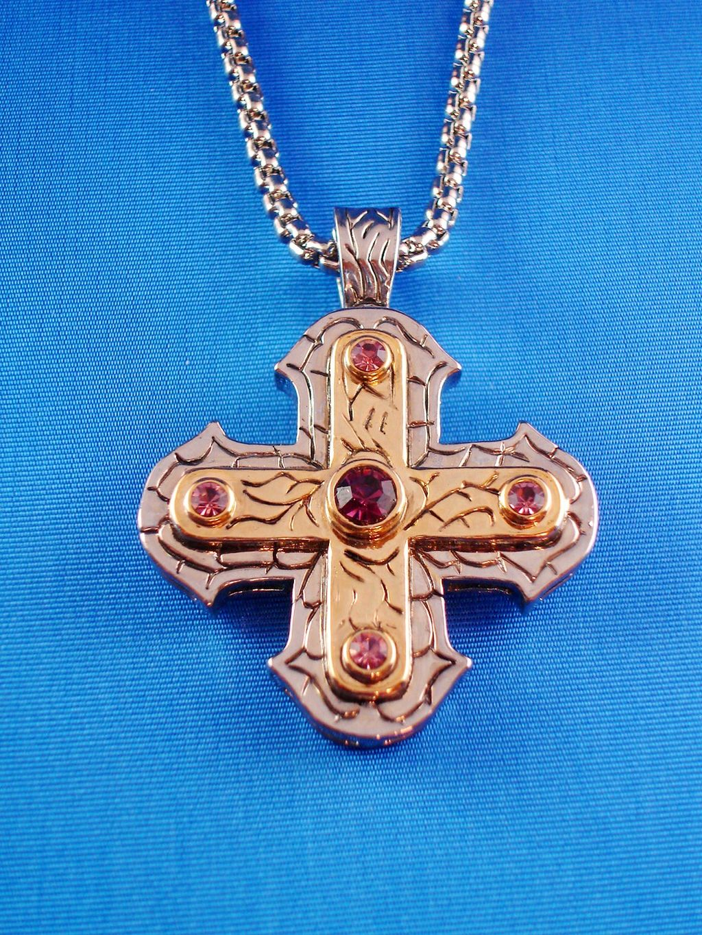 Bold & Heavy Two-Tone Square Cross Pendant Necklace, Amethyst Crystals