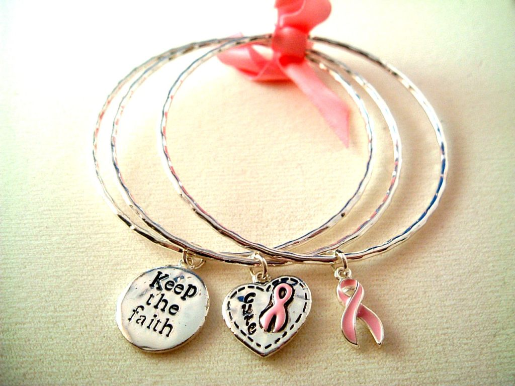 Breast Cancer Awareness Inspirational Set of Three Bangle Bracelets, Pink Ribbon, Heart & Faith Charms, Silver Finish Metal, Anti-allergic Jewelry
