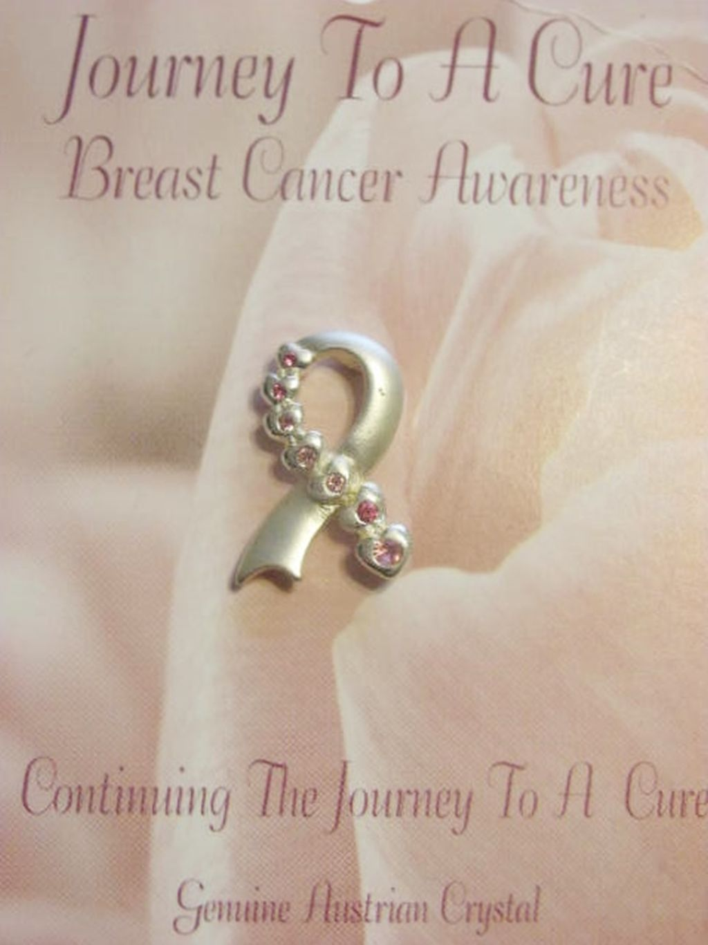 Breast Cancer Awareness Ribbon Pin w/ Pink Crystals