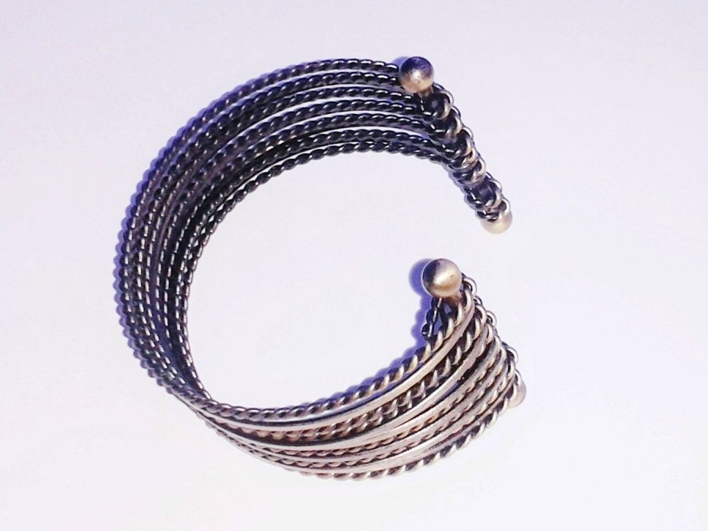 Bronze Metal Multi-Cuff Twisted Cable Bracelet