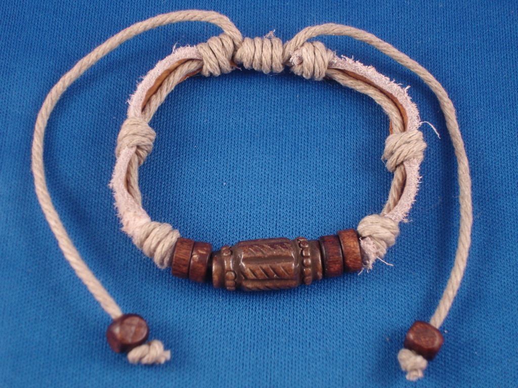 Brown Beach/Surfer Style Beaded Adjustable Leather Bracelet, Wooden & Ceramic Beads