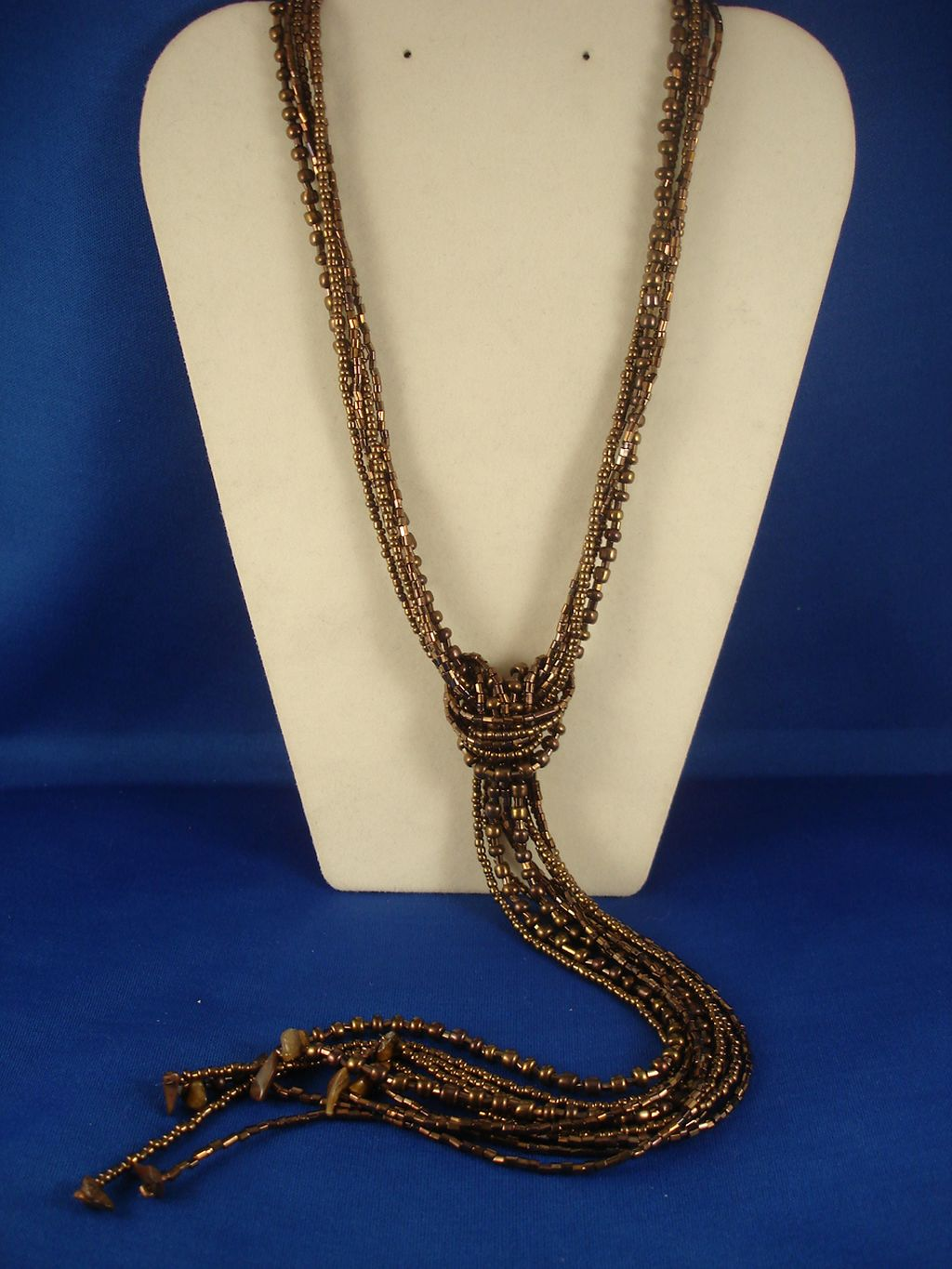 Brown Beads & Genuine Stones Contemporary Knot Necklace