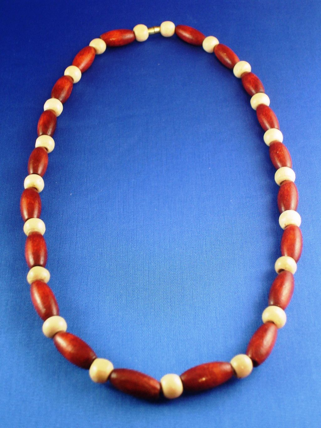 Brown & Beige Wooden Beads Necklace, European Fashion Jewelry