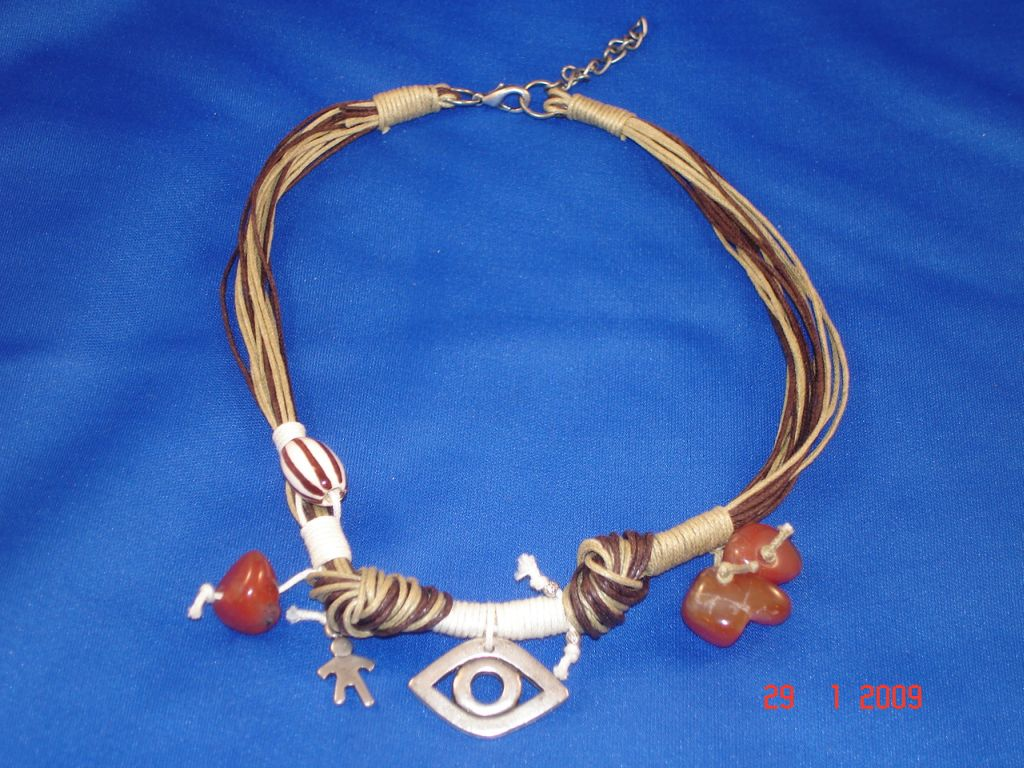 Brown Evil Eye Necklace, Natural Stones, European Fashion Jewelry