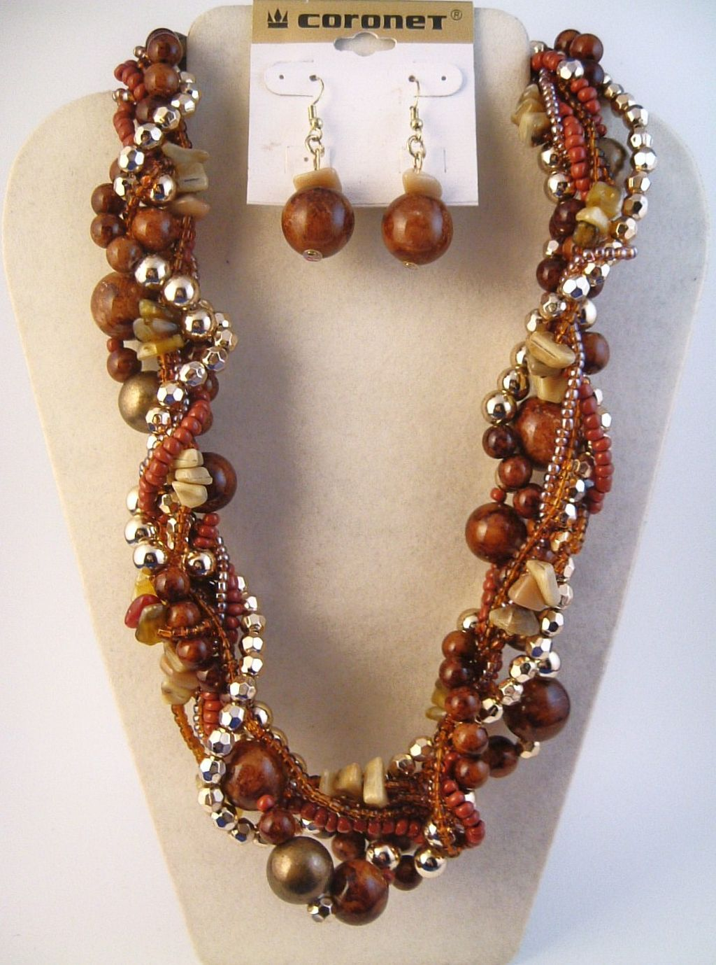 Brown/Gold Twisted Multi-Layers Large Beads Necklace Earrings Jewelry Set